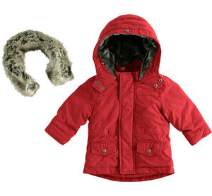 Carry-over parka with full zip opening and flap with buttons RED