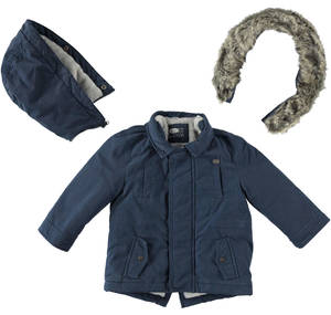 Winter parka coat with hood BLUE