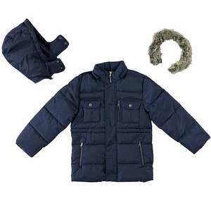 Multi-pocket jacket with cotton padding BLUE
