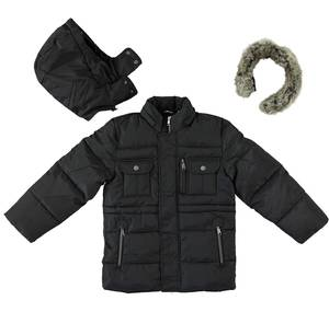 Multi-pocket jacket with cotton padding BLACK