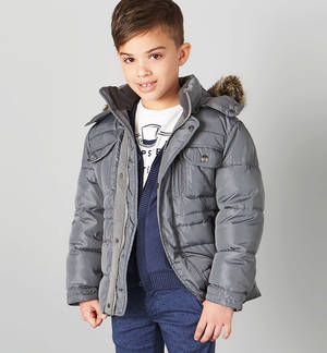 Multi-pocket goose down padded jacket with hood  GREY