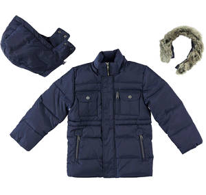Multi-pocket goose down padded jacket with hood  BLUE