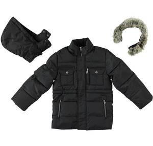 Multi-pocket goose down padded jacket with hood  BLACK
