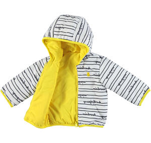 Reversible hooded jacket for babies YELLOW