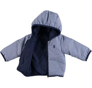 Reversible hooded jacket for babies BLUE