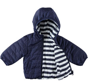 Reversible baby boy jacket with hood BLUE