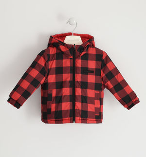 Reversible jacket padded with wadding RED