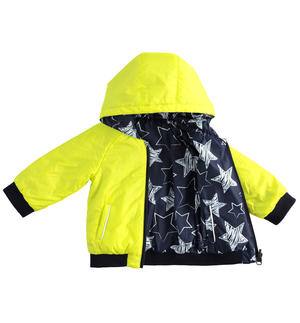 Reversible bomber jacket for baby boy with hood