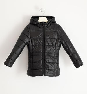 Reversible jacket for girl with hood BLACK