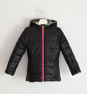 Reversible jacket for girl with hood CREAM