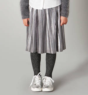 Pleated bell-skirt in laminate fabric GREY