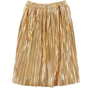 Pleated bell-skirt in laminate fabric YELLOW