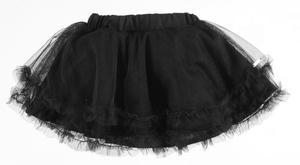 Tulle flared skirt with ruffles at the bottom BLACK