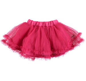 Tulle flared skirt with ruffles at the bottom PINK