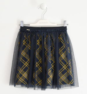 Skirt with tulle and tartan print