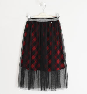Double-layered check patterned skirt RED