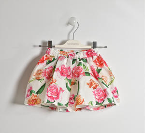 Poplin skirt with floral pattern CREAM