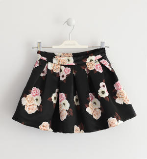 Skirt in satin, pleated, with a very refined floral pattern BLACK