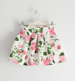 Floral patterned satin skirt