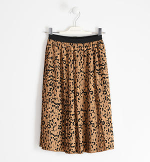 Spotted print midi skirt BROWN
