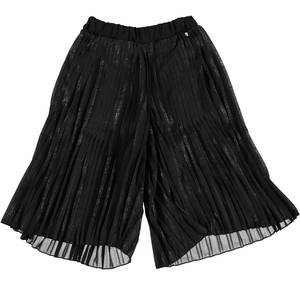 Pleated voile pants-skirt with laminated print BLACK