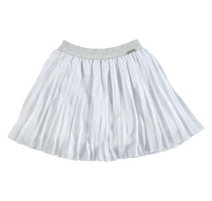 Pleated voile skirt enriched with a laminated print WHITE