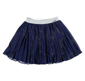Pleated voile skirt enriched with a laminated print BLUE