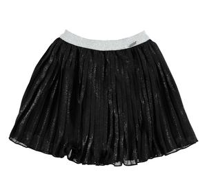 Pleated voile skirt enriched with a laminated print BLACK