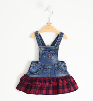 Denim-effect dungaree skirt with check fabric flounce
