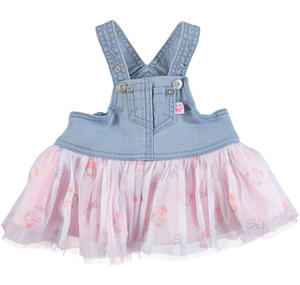 Gonna salopette in denim e tulle per neonata BLU