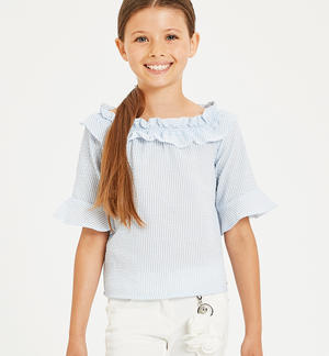 Pretty shirt with a curl LIGHT BLUE