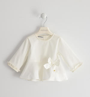 Pretty poplin shirt for girl CREAM