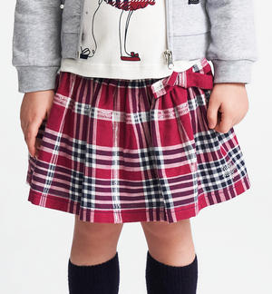 Micro check pattern skirt with lurex elastic RED