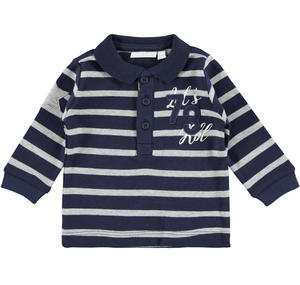 Pretty striped long-sleeved polo shirt  BLUE