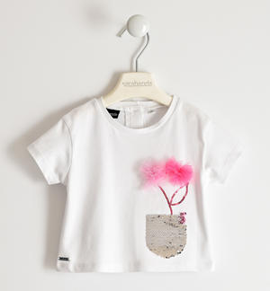 Pretty stretch jersey t-shirt with reversible sequin pocket and tulle flowers WHITE