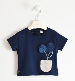Pretty stretch jersey t-shirt with reversible sequin pocket and tulle flowers BLUE