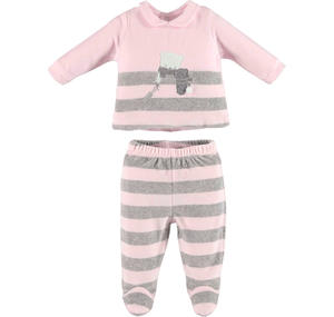 Delightful unisex chenille two-piece outfit with footed bottoms  PINK
