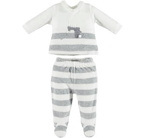 Delightful unisex chenille two-piece outfit with footed bottoms  CREAM