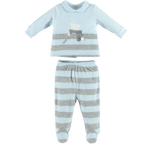 Delightful unisex chenille two-piece outfit with footed bottoms  LIGHT BLUE