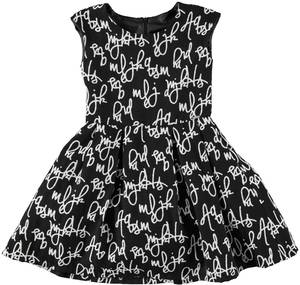 Dress with an italic wording pattern BLACK