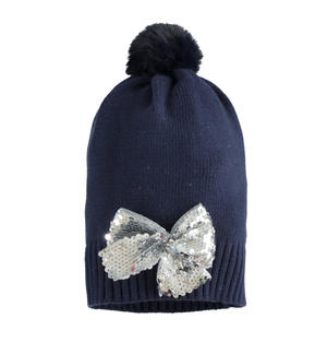 Pretty beanie hat with sequin bow BLUE