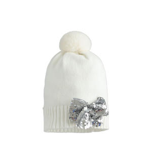 Pretty beanie hat with sequin bow CREAM