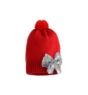 Pretty beanie hat with sequin bow RED