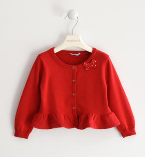 100% cotton tricot cardigan RED