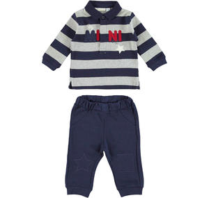 Delightful polo shirt and trousers outfit  BLUE