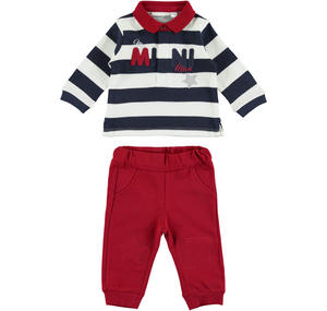 Delightful polo shirt and trousers outfit  RED