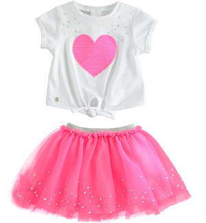 Pretty outfit with t-shirt with heart and tulle skirt FUCHSIA