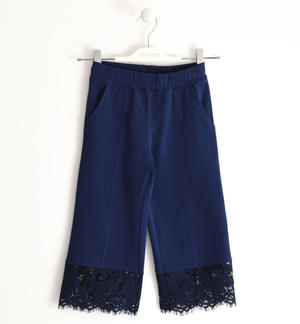 Pretty trousers in stretch fleece with lace BLUE