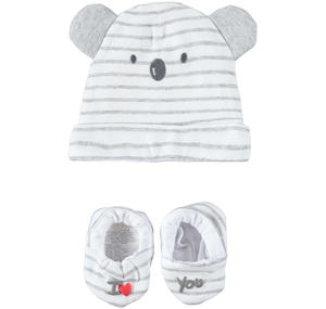 Very soft and comfortable baby boy kit with hat and slippers GREY