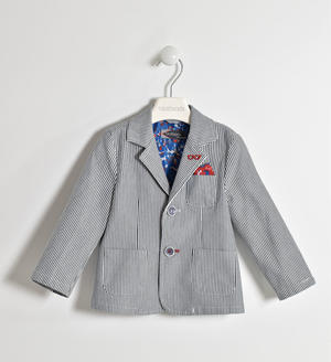 Striped fabric jacket GREY